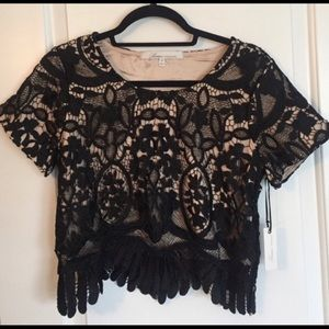 Lovers + Friends daycation crop top black nude